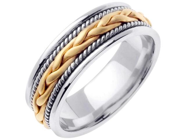 18K Yellow and White Solid Gold French Braid Comfort Fit Men's and Women's Wedding Band Ring - 7mm