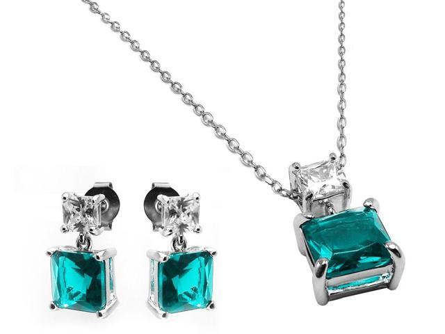 .925 Sterling Silver Rhodium Plated Square Birthstone CZ Hanging Set March