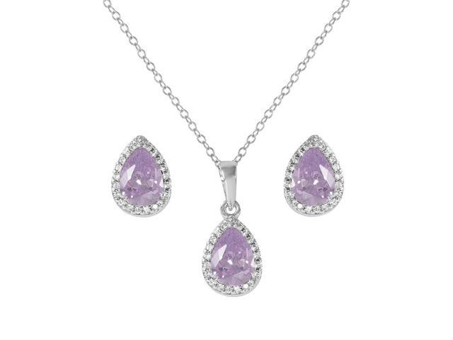 .925 Sterling Silver Rhodium Plated Pear Birthstone Set June