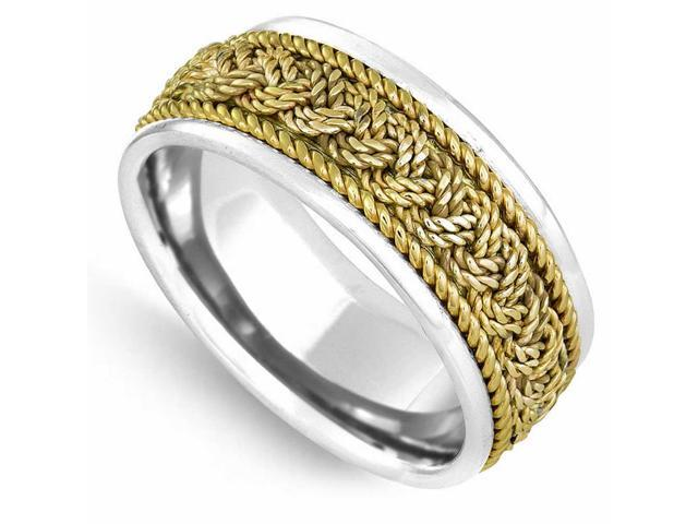 14K Two Tone Solid Gold French Braid Comfort Fit Men's and Women's Wedding Band Ring - 9mm