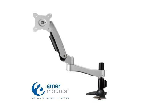 Single Articulating Arm Monitor Mount. Supports Standard VESA. Monitor Maximum weight 22.1 lbs. Grommet Mount