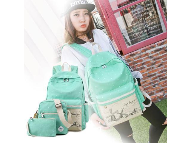 Casual Style Lightweight Canvas Laptop Bag/ Shoulder Bag/ Bookbag/ School Backpack with Cross-body Bag and Purse/Pen Bag