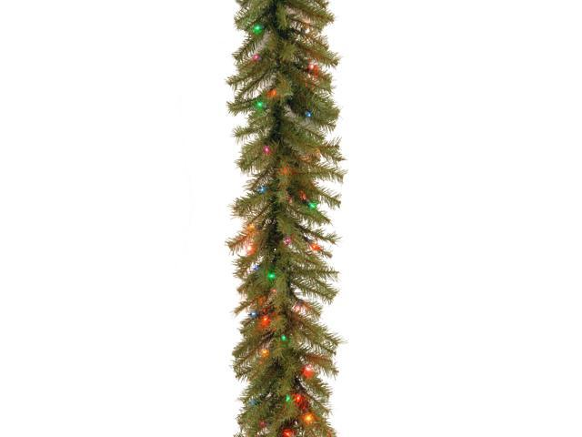 9 ft. Norwood Fir Garland with Battery Operated Multicolor LED Lights