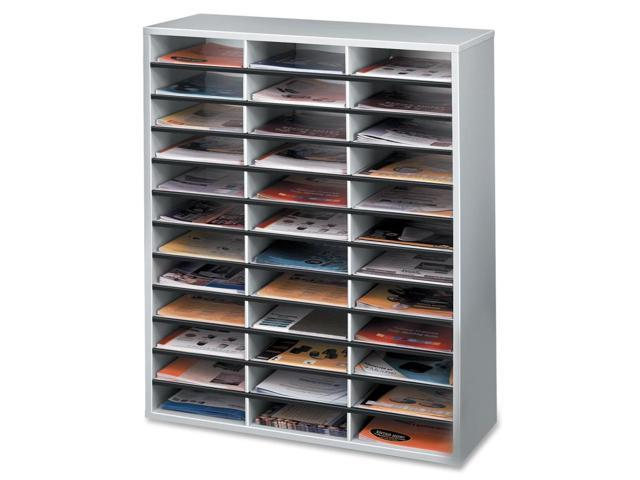 Fellowes Litrature Organizer - 36 Compartment, Letter, Dove Gray