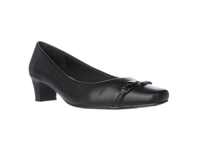 Easy Street Venture Square Toe Kitten Pumps, Black, 6.5 W US