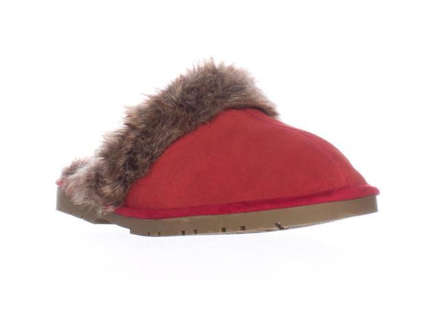 Sporto Jasmine Faux Fur Mule Slippers, Red, 5.5 US