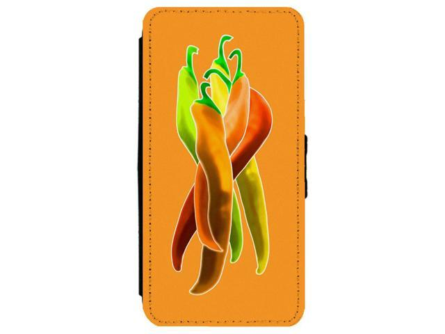Colorful Chile Peppers Apple iPhone 7 Plus Leather Flip Phone Case