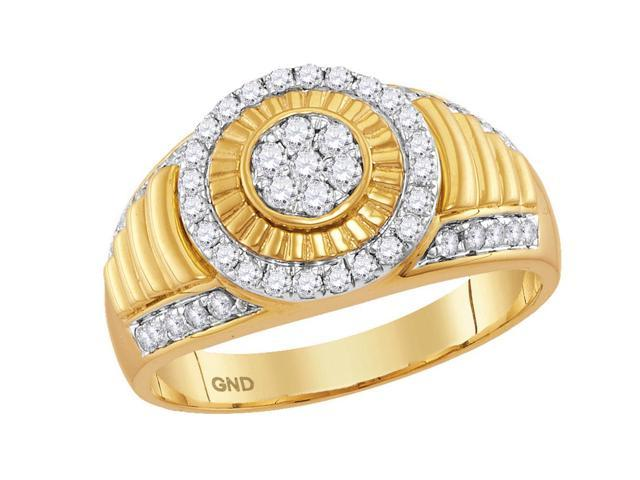 0.75 Ctw Diamond 10kt Yellow Gold Mens Round Diamond Cluster Concentric Circle Ribbed Ring