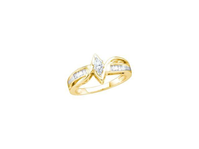 0.25 Ctw Diamond 14kt Yellow Gold Womens Marquise Diamond Bridal Wedding Engagement Ring Band Set
