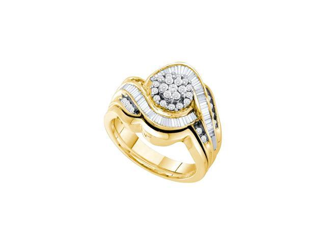 0.75 Ctw Diamond 14kt Yellow Gold Womens Round Diamond Cluster Bridal Wedding Engagement Ring Band Set
