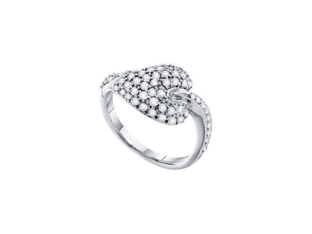 0.67 Ctw Diamond 14kt White Gold Womens Round Diamond Leaf Cluster Ring