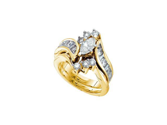 2.06 Ctw Diamond 14kt Yellow Gold Womens Marquise Diamond Bridal Wedding Engagement Ring Band Set (Certified)