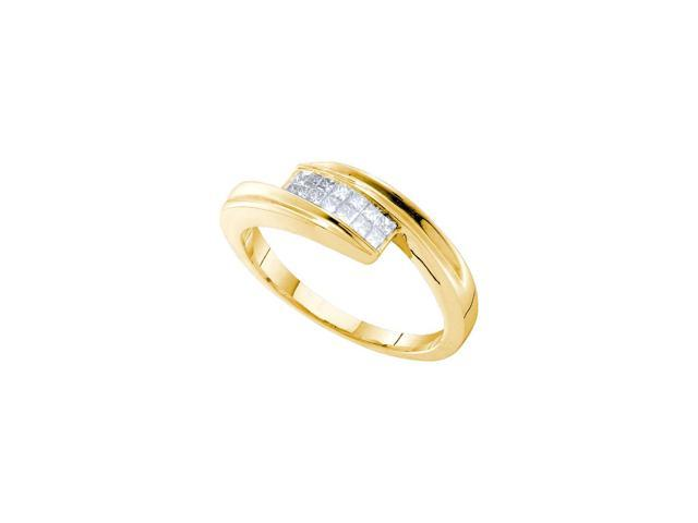 0.25 Ctw Diamond 14kt Yellow Gold Womens Princess Diamond Tension Band Ring