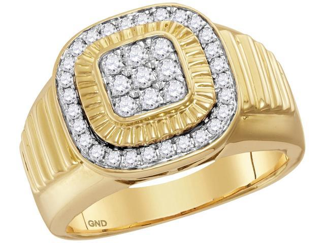 10kt Yellow Gold Mens Round Diamond Square Frame Cluster Ribbed Ring 3/4 Cttw (Ring Size 13)