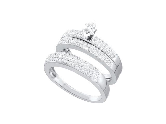 10kt White Gold His & Hers Marquise Diamond Solitaire Matching Bridal Wedding Ring Band Set 1/2 Cttw (Ring Size 7)