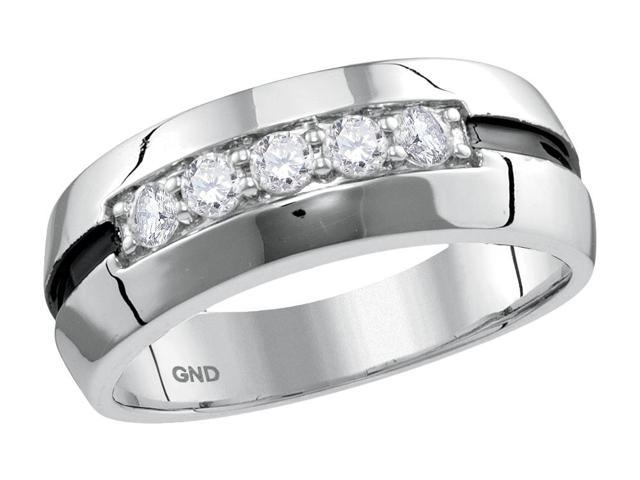 0.50 Ctw Diamond 10kt White Gold Mens Round Diamond Wedding Black Groove Band Ring