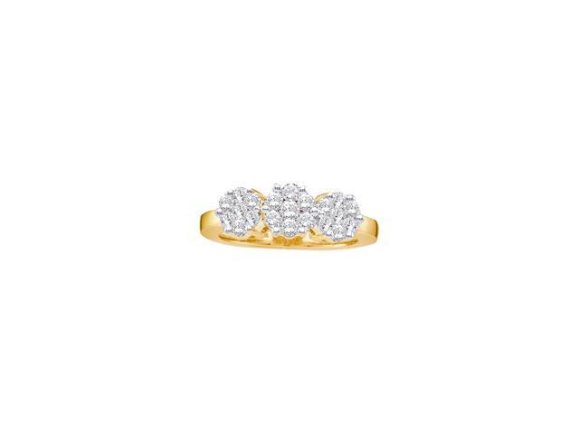 1.50 Ctw Diamond 14kt Yellow Gold Womens Round Diamond Triple Flower Cluster Ring