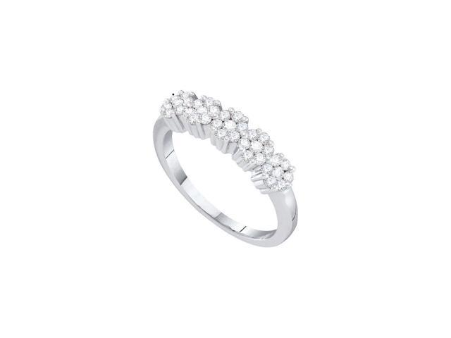 0.50 Ctw Diamond 14kt White Gold Womens Round Diamond Flower Cluster Band Ring