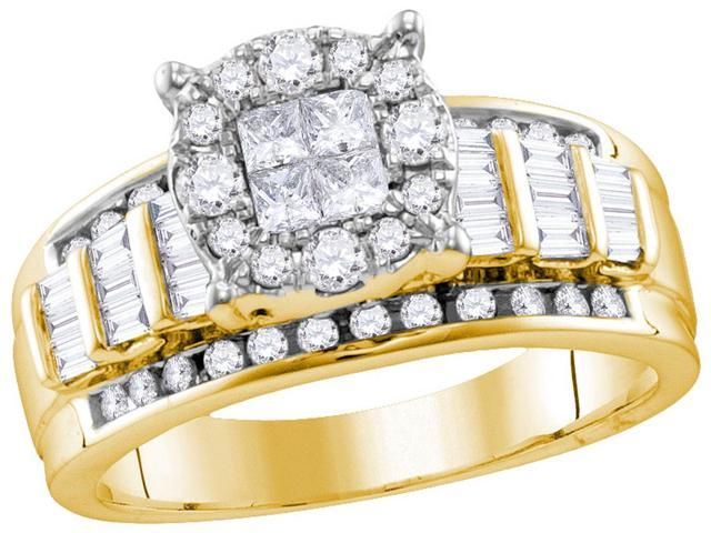 0.99 Ctw Diamond 10kt Yellow Gold Womens Princess Round Diamond Soleil Cluster Bridal Wedding Engagement Ring