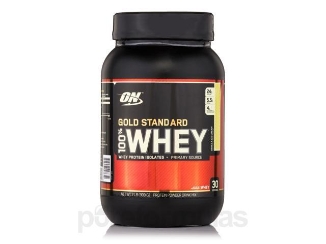 Gold Standard 100% Whey Vanilla Ice Cream - 2 lbs (909 Grams) by Optimum Nutrit