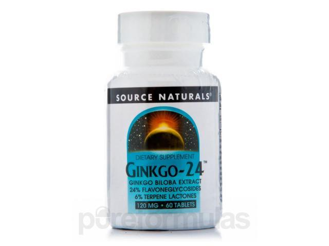 Ginkgo 24 Biloba Extract 120 mg - 60 Tablets by Source Naturals