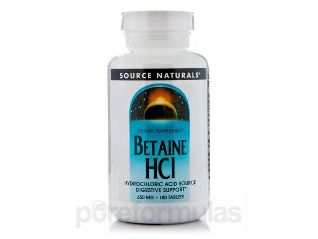 Betaine HCL 650 mg - 180 Tablets by Source Naturals