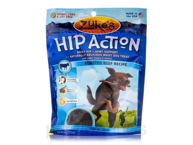 Hip Action with Glucosamine & Chondroitin Dog Treats Beef - 6 oz (170 Grams) by