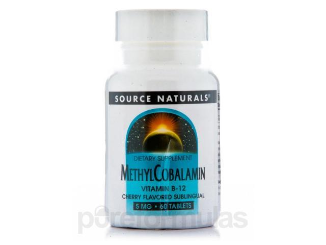 Methylcobalamin 5 mg Cherry Flavored Sublingual - 60 Tablets by Source Naturals