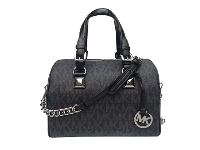 Michael Kors Grayson Medium Chain Signature Satchel Black With - Free invoice online michael kors outlet online store