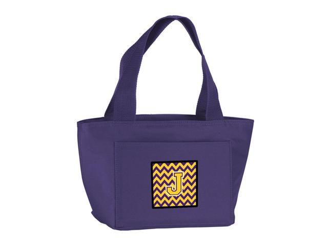 Letter J Chevron Purple and Gold Lunch Bag CJ1041-JPR-8808