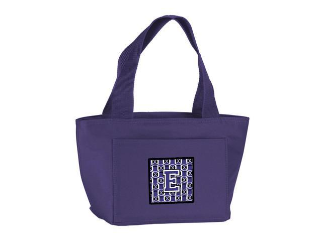 Letter E Football Purple and White Lunch Bag CJ1068-EPR-8808