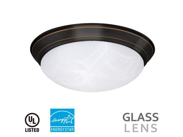 14 Inch 23W Dimmable LED Flush Mount Ceiling Light, Alabaster Glass Lens, 1600LM, 3000K Warm White, ENERGY STAR UL-Listed, Entrance/Corridor/Residential/Commercial Lighting, Bronze nickel