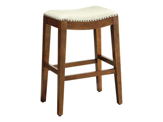 Metro 29 Inch Saddle Stool with Nail Head Accents and Espresso Finish Legs with Cream Bonded Leather