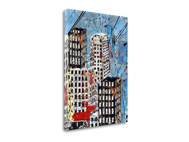 Blue Black and White Cityscape by Daryl Thetford  Gallery Wrap Canvas Art printed on heavy museum grade canvas.