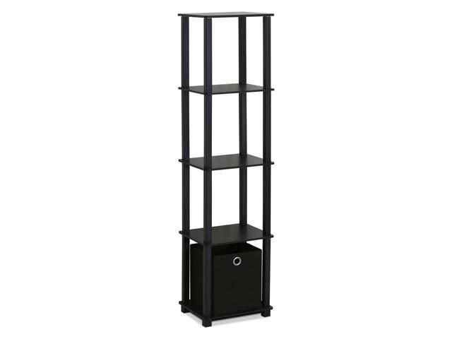 FURINNO 15120BKBK TNT No Tools 5-Tier Display Decorative Shelf with One Bin, ...