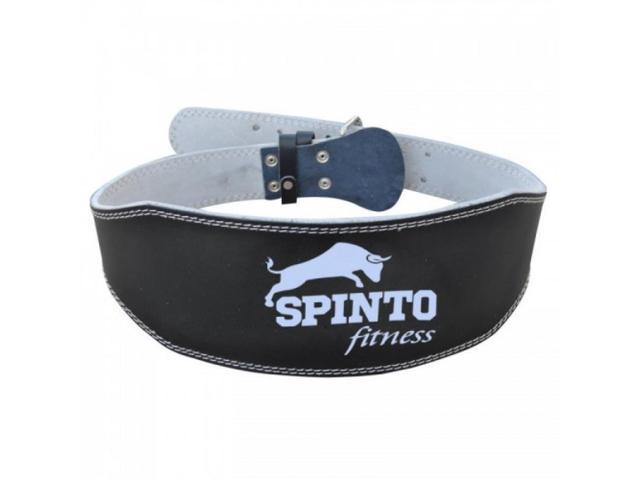 Spinto Fitness Full Leather Belt 6inch - Black / XL