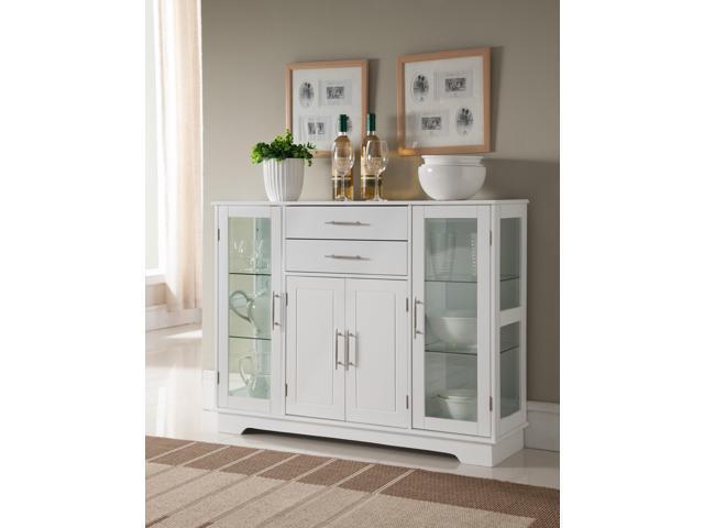 White Wood Kitchen Buffet Display Cabinet With Storage Drawers U0026 Glass Doors