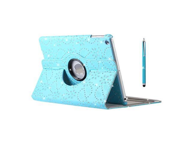 SODIAL LEATHER 360 DEGREE ROTATING STAND CASE COVER FOR APPLE IPAD MINI WITH WAKE SLEEP Linght Blue