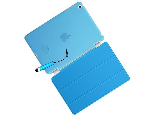SODIAL New Smart Stand Magnetic Leather Case Cover For Apple iPad 5/iPad Air colour:Blue Translucent