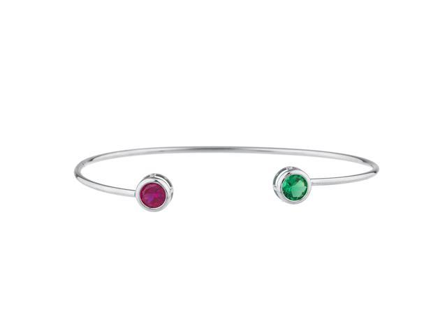 Created Ruby & Emerald Round Bezel Bangle Bracelet .925 Sterling Silver