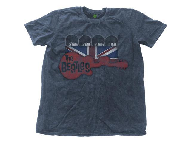 Beatles Men's Guitar & Flag Vintage T-shirt Small Denim