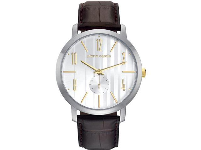 PIERRE CARDIN MEN'S 44MM LEATHER BAND STEEL CASE QUARTZ WATCH PC106981F10