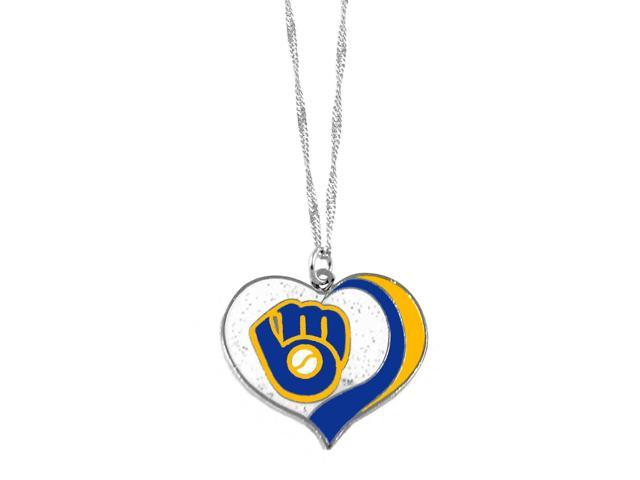 Milwaukee Brewers  MLB Glitter Heart Necklace Charm Gift