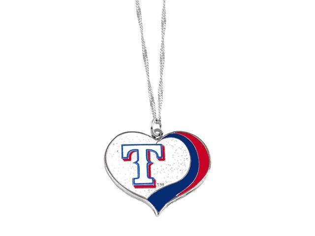 Texas Rangers MLB Glitter Heart Necklace Charm Gift