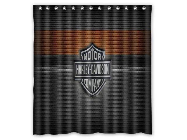 Harley Davidson Logo Design 66x72 Inch Bath Shower Curtains