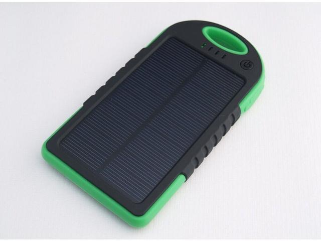 Green+Black 5000 mah Dual-USB Waterproof Solar Power Bank Battery Charger for Cell Phone