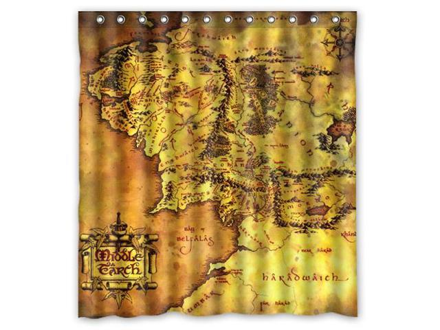 Custom The Lord Of The Rings Map Waterproof Shower Curtain High Quality  Bathroom Curtain With Hooks