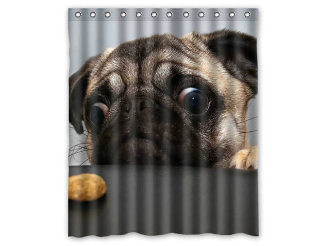 Fashion Design Pug Dog Bathroom Waterproof Polyester Fabric Shower Curtain With Hooks 60