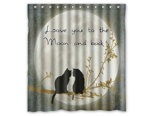 Fashion Design I Love You To The Moon and Back Bathroom Waterproof Polyester Fabric Shower Curtain With Hooks 66