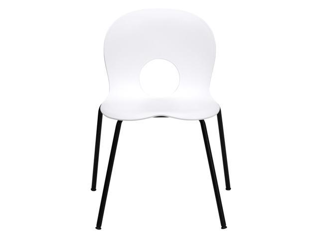 HERCULES Series Crown Back Stacking Banquet Chair with Black Fabric and 2.5'' Thick Seat - Silver Frame